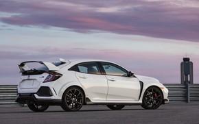 Picture white, asphalt, clouds, Honda, side, hatchback, the five-door, 2019, Civic Type R, 5th gen, FK8