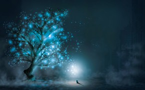 Picture night, lights, tree, mouse