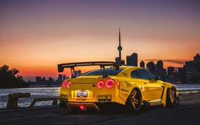 Picture sunset, tuning, the evening, Canada, Nissan, GT-R, Toronto, Canada, tuning, Toronto, Liberty Walk, Pandem