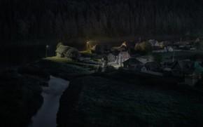 Picture forest, landscape, night, nature, river, village, home, lighting, Ural, outskirts, Perm Krai, Andrei