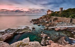 Picture sea, clouds, landscape, nature, house, stones, tower, Italy