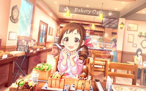 Picture food, tables, girl, cafe