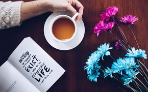 Picture wallpaper, text, flowers, book, coffee, hand, motivation, moods