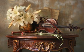 Picture notes, violin, Lily, still life, ring, table, candle