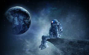 Picture stars, planet, space, austronaut, art, fantasy