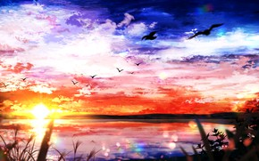 Picture the sky, water, the sun, nature, seagulls, заат