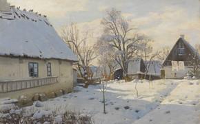 Picture 1923, Danish painter, Peter Merk Of Menstad, Peder Mørk Mønsted, Danish realist painter, Winter in …