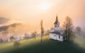 Picture landscape, mountains, nature, fog, hills, home, morning, Church, Slovenia