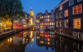 Picture lights, the evening, channel, Netherlands, Amsterdam, Holland