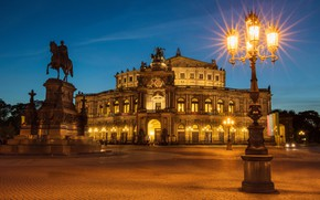 Picture night, the city, lights, the building, Germany, Dresden, area, lights, monument, rider, architecture, sculpture