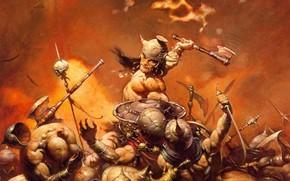 Picture Battle, Battle, Conan, Conan the barbarian, Frank Frazetta, Конан-Разрушитель, CONAN THE DESTROYER