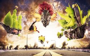 Picture road, photoshop, plants, fantasy, photoart