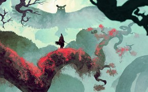 Picture owl, branch, sword, samurai, Sekiro, Sekiro: Shadows Die Twice