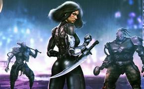 Picture ass, girl, fiction, sword, blade, costume, cyborg, cyberpunk, alita, battle angel