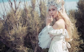Picture look, girl, nature, face, style, thickets, hand, portrait, blonde, costume, outfit, image, Asian, elf, needles, …