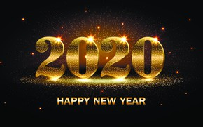 Picture the inscription, New year, stars, 2020