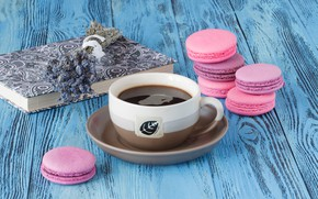 Picture coffee, cookies, book, lavender