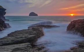 Picture sunset, the ocean, rocks, Australia