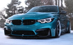Picture HDR, BMW, BMW, close-up, tuning, supercars, BMW M3, F80, german cars, blue m3