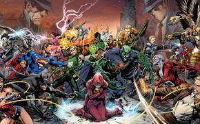 Picture fantasy, Wonder Woman, Batman, fight, comics, Superman, battle, artwork, mask, superheroes, costume, fantasy art, Green …