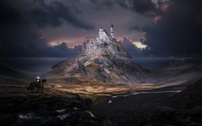Picture Mountain, Castle, The building, Landscape, Architecture, Art, Art, Landscape, Mountain, Knight, Fiction, Fiction, Neuschwanstein, Rider, …