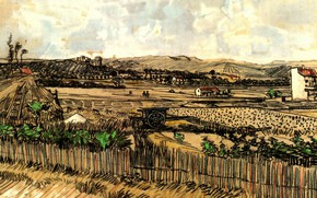 Picture the fence, Vincent van Gogh, at the Left Montmajour, Harvest in Provence