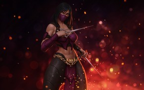 Picture The game, Background, Sparks, Fantasy, Fighter, Art, Art, Mortal Kombat, Mortal Kombat, Sexy, Mileena, Milina, …