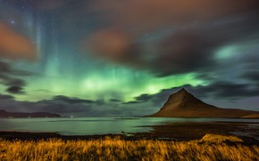 Picture sea, the sky, grass, stars, clouds, mountains, night, clouds, hills, shore, mountain, Northern lights, Iceland, …
