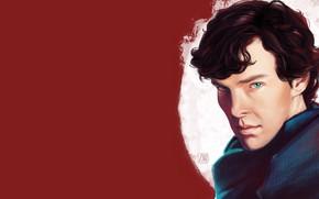 Picture portrait, art, Sherlock Holmes, red background, Benedict Cumberbatch, Benedict Cumberbatch, Sherlock, Sherlock, Sherlock BBC, Sherlock …