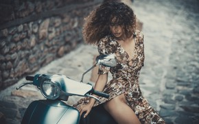 Wallpaper girl, pose, hair, dress, curls, scooter, scooter
