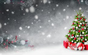 Picture winter, snow, gifts, New year, Tree, Smileus