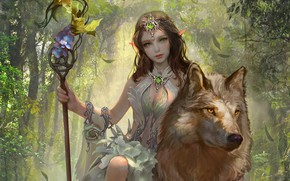 Picture look, girl, animal, wolf, fantasy, art, elf, sitting