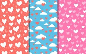 Picture white, blue, Love, hearts, background, pattern, Hearts