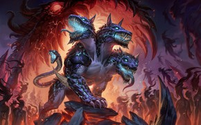 Wallpaper fire, lava, shadows, horror, demons, the dog of hell, the fire hyena, the dragon's mouth, ...