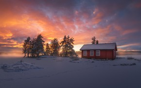 Picture winter, snow, Norway, house, Ringerike