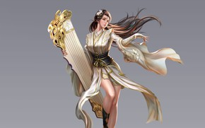Picture Girl, Beautiful, Art, Style, Fiction, Characters, Dress, Figure, Three Kingdoms, An Hua, Guqin, China bard …