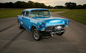 Picture Race, Blue, Coupe, Chevy, Gasser, Vehicle, Modified, Chevy 210