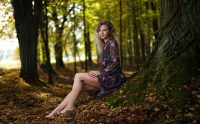 Picture autumn, girl, trees, nature, pose, smile, barefoot, dress, barefoot, Rus, Dariusz Borodzicz