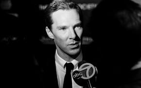 Picture background, microphone, Benedict Cumberbatch, Benedict Cumberbatch, interview, black and white photo