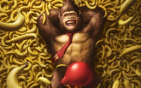 Picture The game, Ball, Bananas, Art, Art, Nintendo, Illustration, Donkey Kong, Characters, Monkey, Banana, Balloon, Gorilla, ...