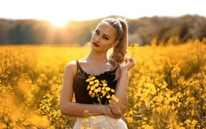 Picture field, look, the sun, flowers, model, portrait, makeup, Mike, hairstyle, blonde, beauty, is, yellow, nature, ...