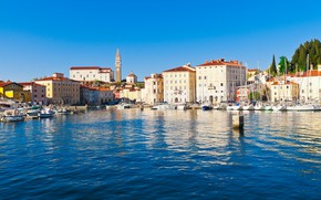 Picture sea, the city, Marina, boats, promenade, Slovenia, Slovenia, Adriatica, harbor, Jadran, Pirani, Piran