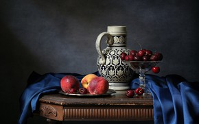 Picture pitcher, fruit, peaches, cherry