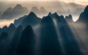 Picture rays, mountains, fog, mountains, rays, fog, Ye Naing Wynn