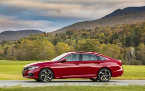 Picture red, Honda, Accord, sedan, 2018, in profile, four-door, 2.0T Sport, mountains in the background