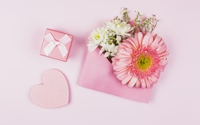 Picture flowers, gift, heart, the envelope, congratulations, mother's day