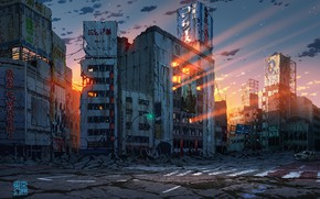Picture auto, sunset, Japan, Tokyo, ruins