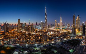 Picture night, the city, lights, view, building, tower, height, skyscrapers, the evening, panorama, Dubai, architecture, megapolis, …