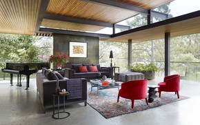 Picture interior, piano, living room, Mexican treehouse
