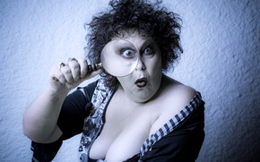 Picture chest, look, face, background, hand, surprise, makeup, magnifier, curls, shaggy, aunty
